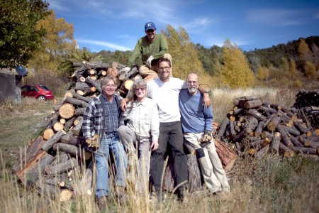 La Jicarita wood cutting crew in El Valle, left to right: Eric Shultz, Kay Matthews, Jake Kosek, Mark Schiller, and David Correia on top. Photo by Jakob Schiller, also a member of the crew.