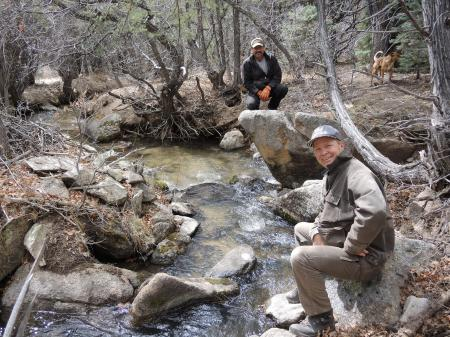 Acequia Madre Mayordomo Arnold Quintana and Commissioner Chris Pieper at the Rio Lucero Ditch